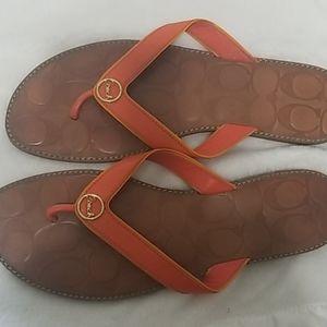 EUC Coach Sandals Orange size 10